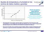 ajustes de temperatura y humedad en los centros de datos medios y grandes