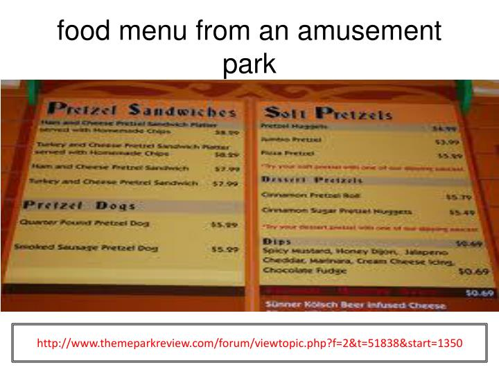 food menu from an amusement