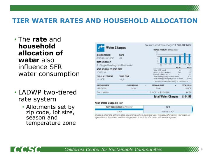 TIER WATER RATES AND HOUSEHOLD ALLOCATION