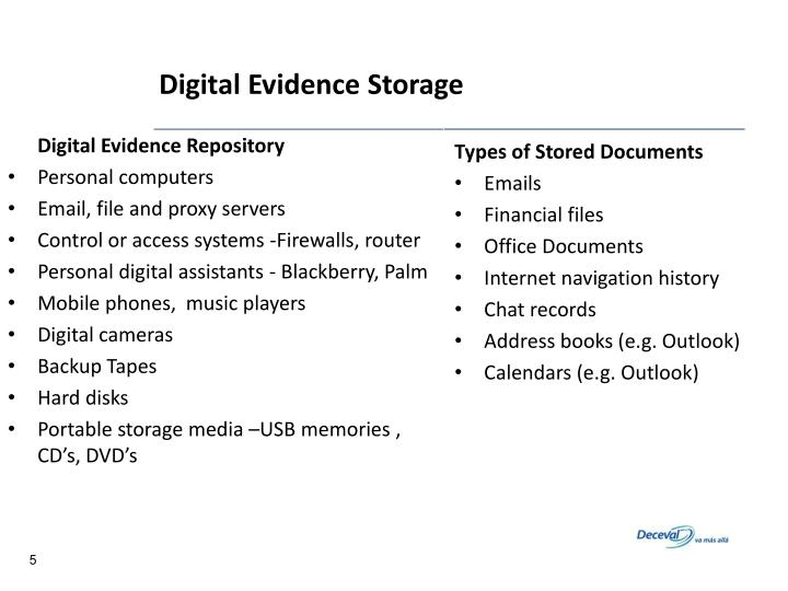 Digital Evidence Storage