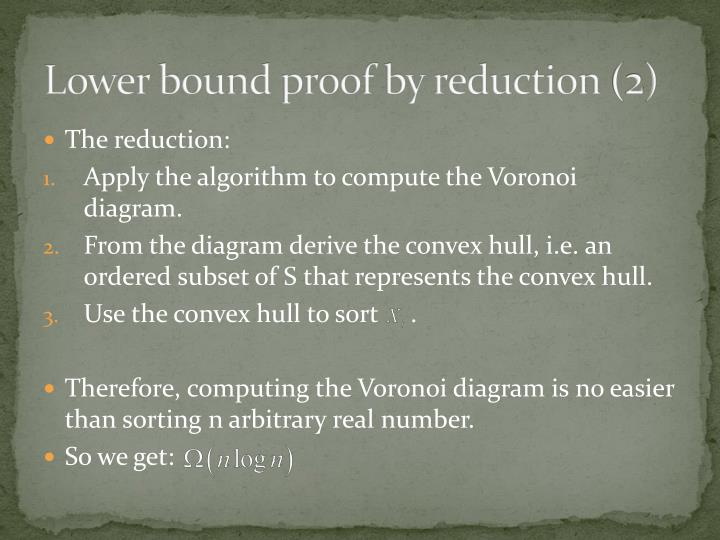 Lower bound proof by reduction