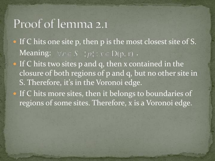 Proof of lemma 2.1