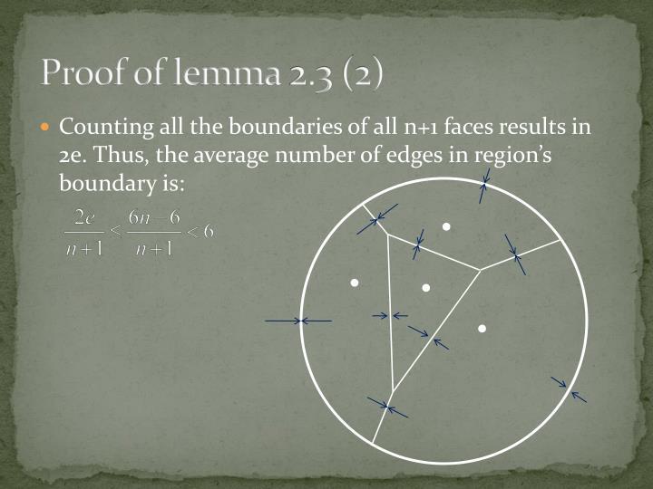 Proof of lemma 2.3 (2)
