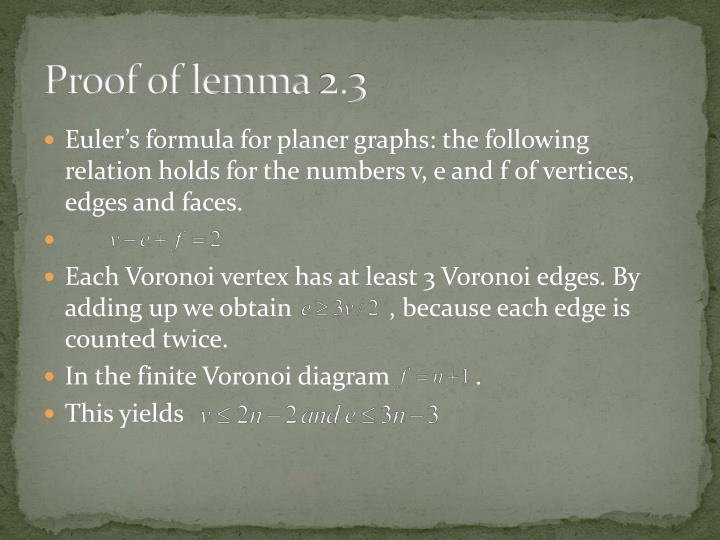 Proof of lemma 2.3