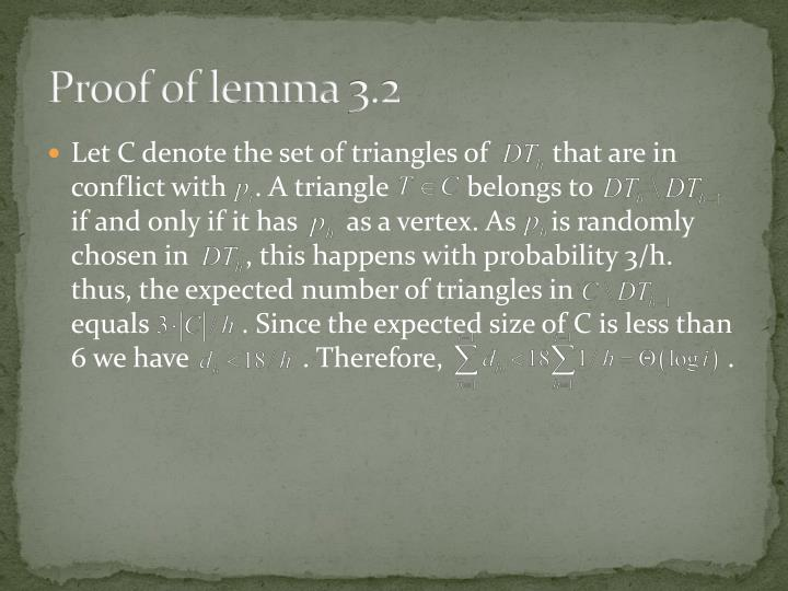Proof of lemma 3.2