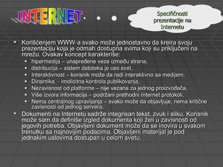 Specifičnosti prezentacije na Internetu