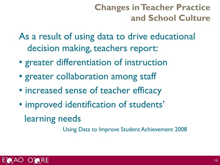 Changes in Teacher Practice