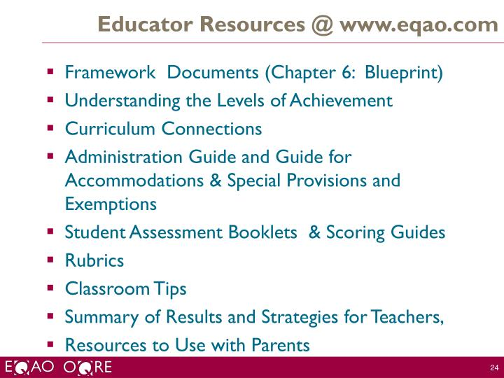 Educator Resources @ www.eqao.com