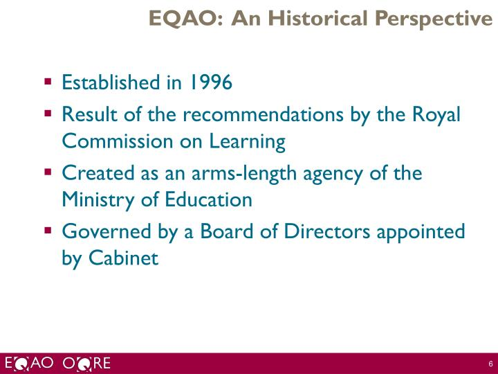 EQAO:  An Historical Perspective