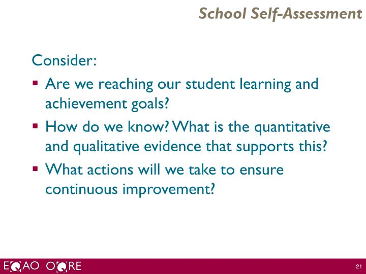 School Self-Assessment