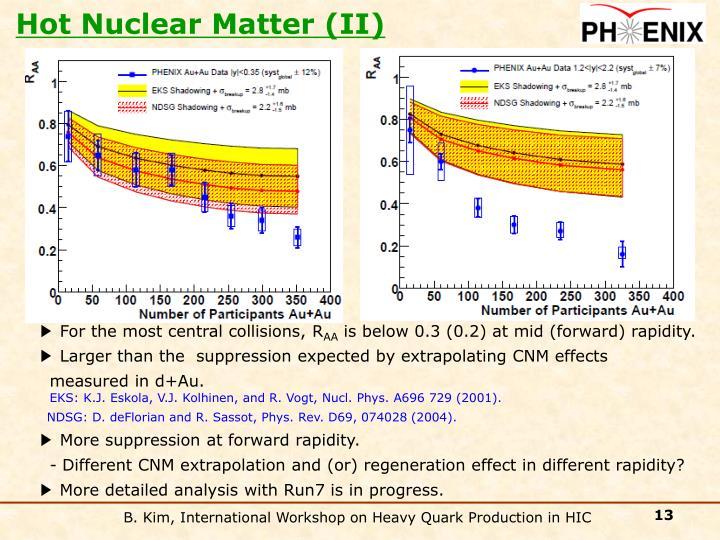 Hot Nuclear Matter (II)