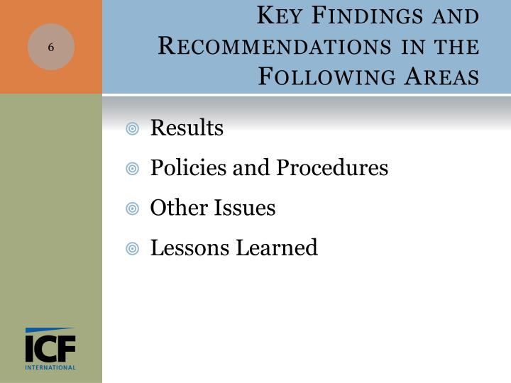 Key Findings and Recommendations in the Following Areas
