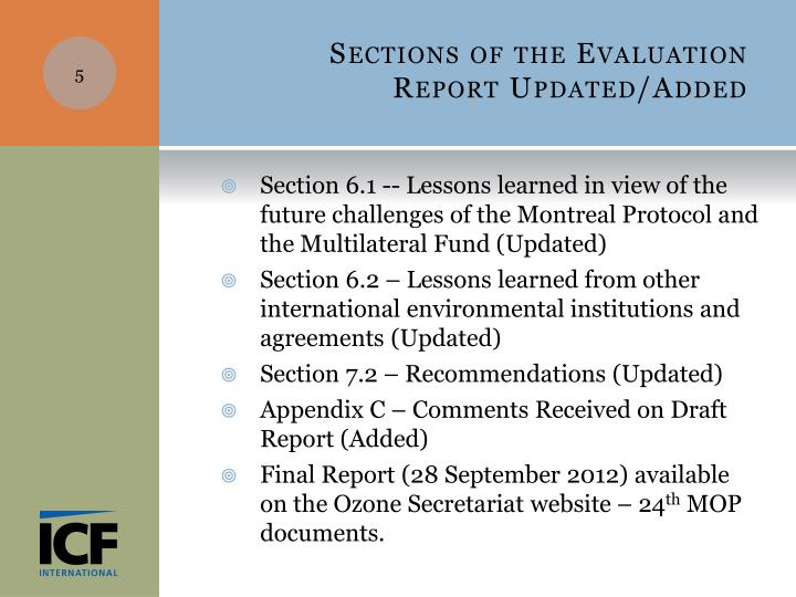 Sections of the Evaluation Report Updated/Added