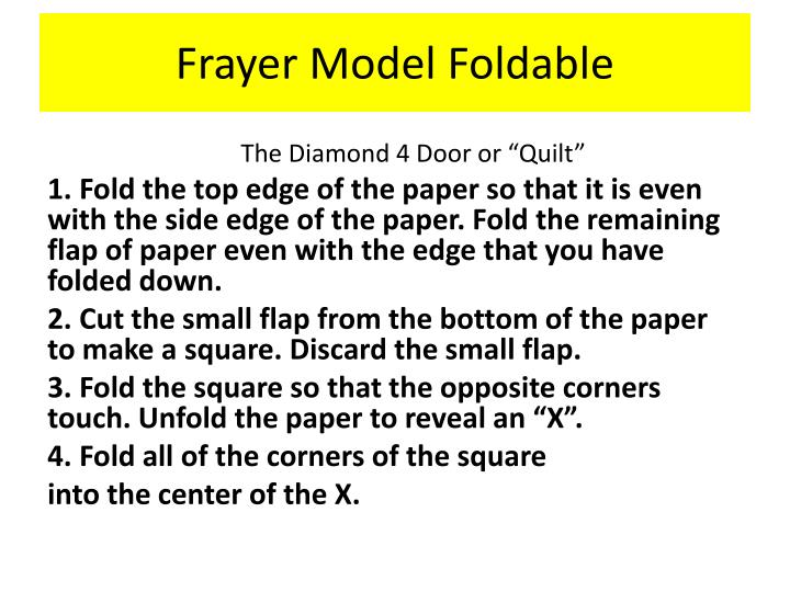 Frayer Model Foldable