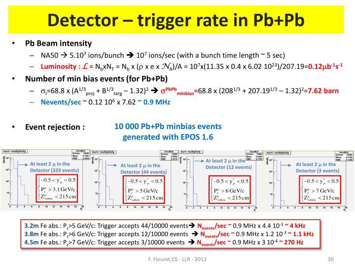 Detector – trigger rate in Pb+Pb