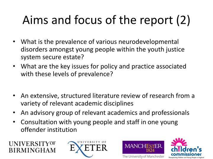 Aims and focus of the report (2)