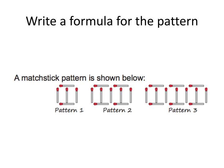 Write a formula for the pattern