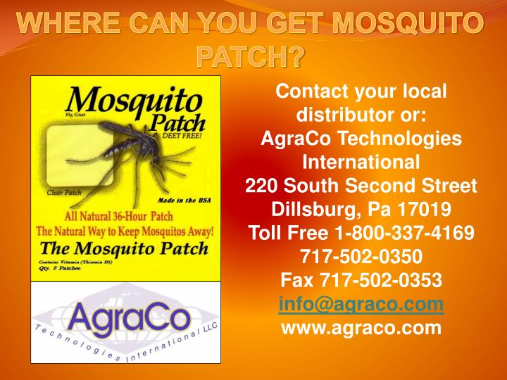 WHERE CAN YOU GET MOSQUITO PATCH?