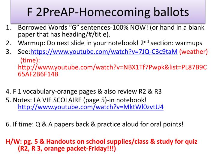 F 2PreAP-Homecoming ballots