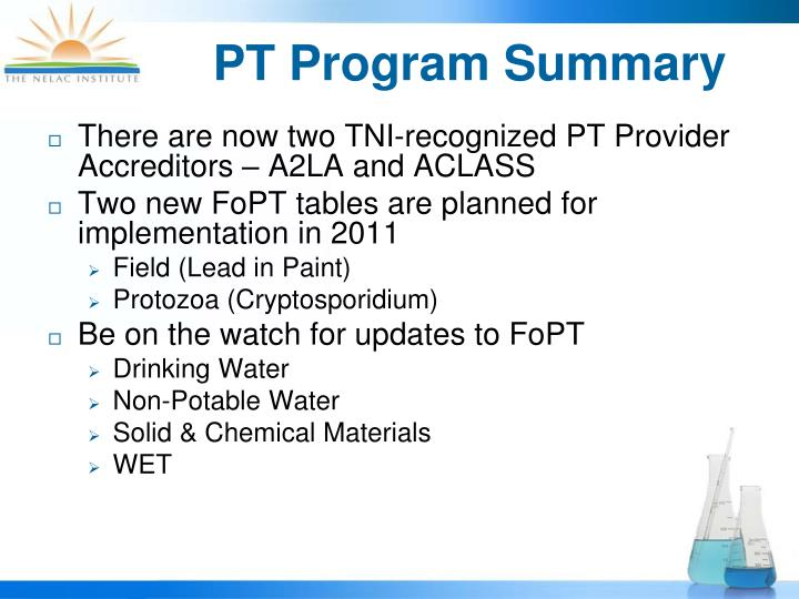 PT Program Summary
