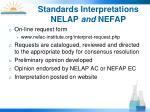 standards interpretations nelap and nefap