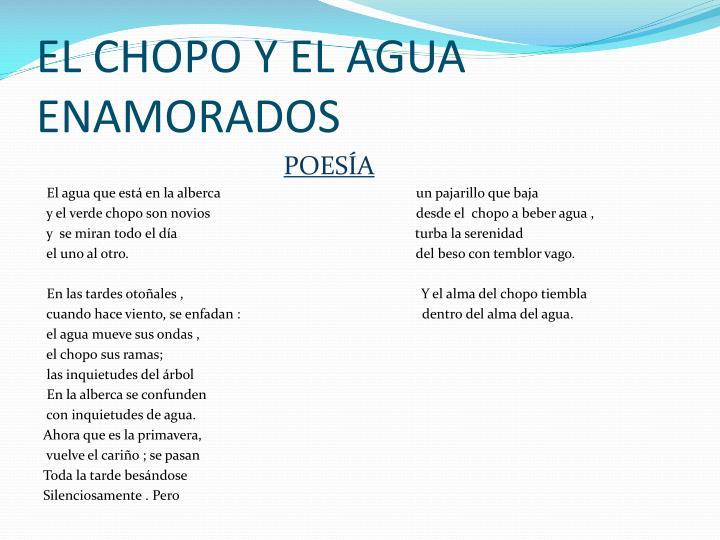EL CHOPO Y EL AGUA ENAMORADOS