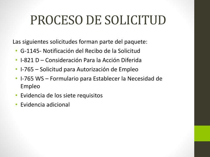 PROCESO DE SOLICITUD