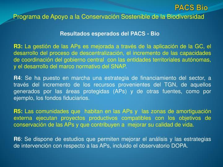 Resultados esperados del PACS -