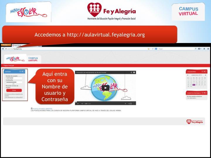 Accedemos a http://aulavirtual.feyalegria.org