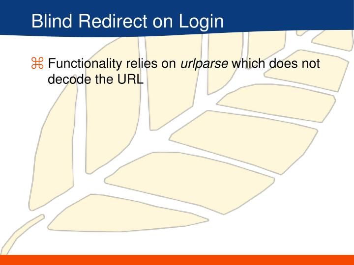 Blind Redirect on Login