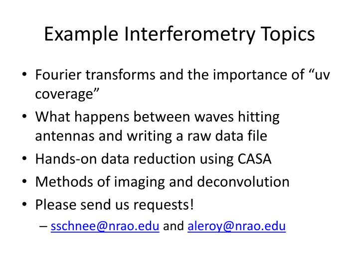 Example interferometry topics