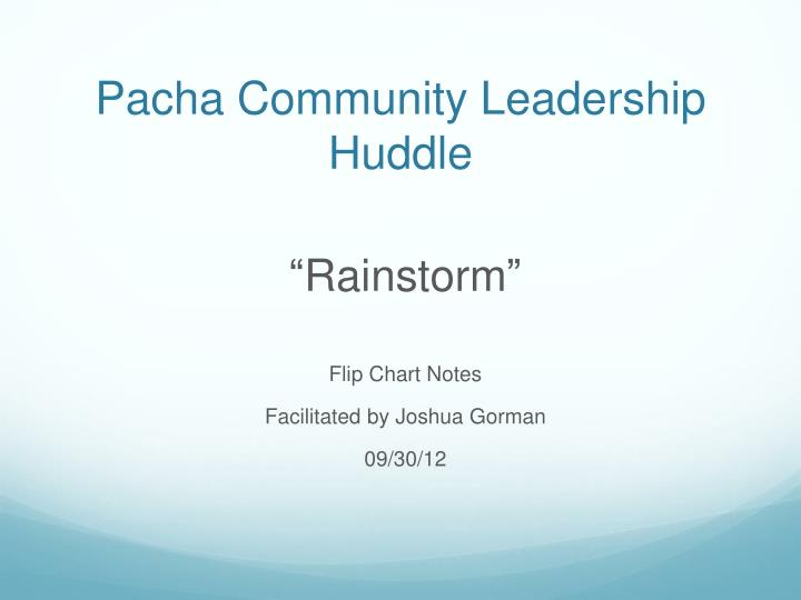 Pacha community leadership huddle