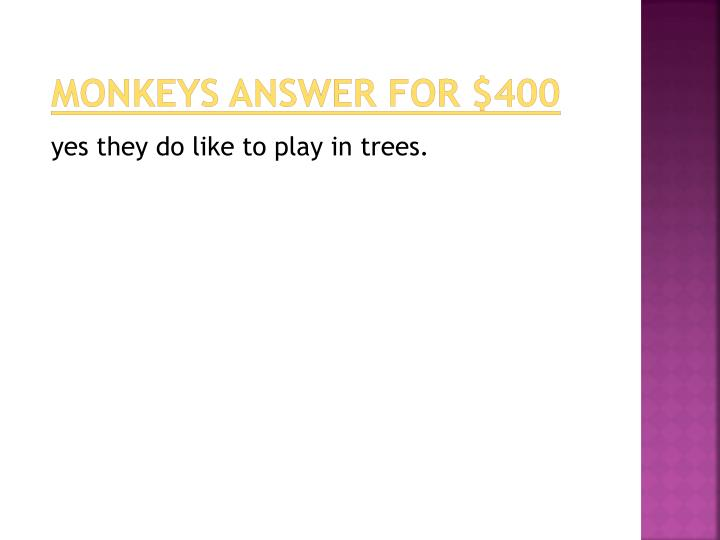 monkeys answer for $400