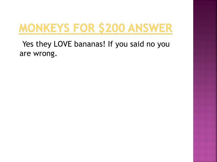 monkeys for $200 answer