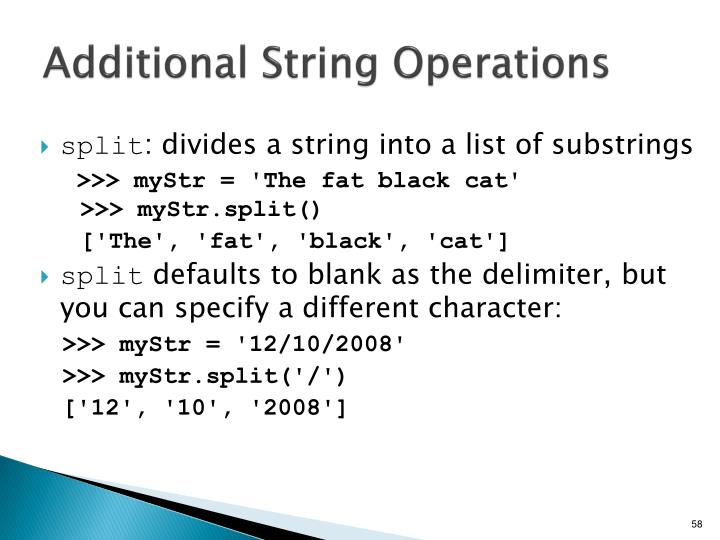 Additional String Operations