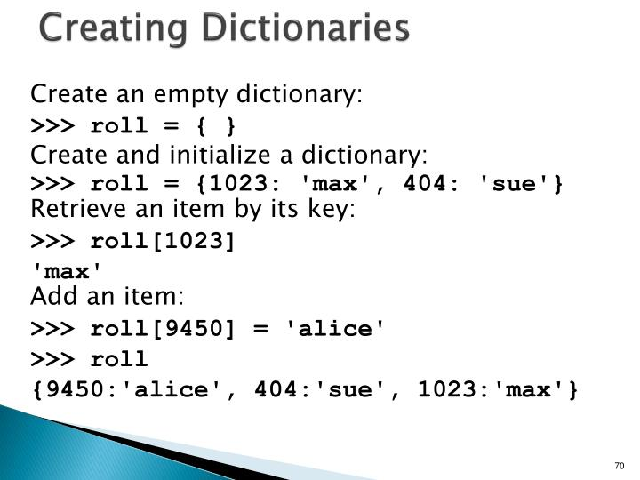 Creating Dictionaries