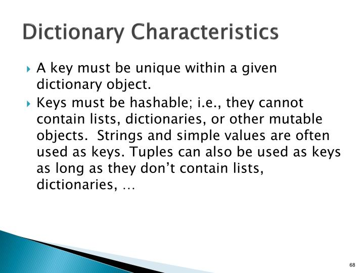 Dictionary Characteristics