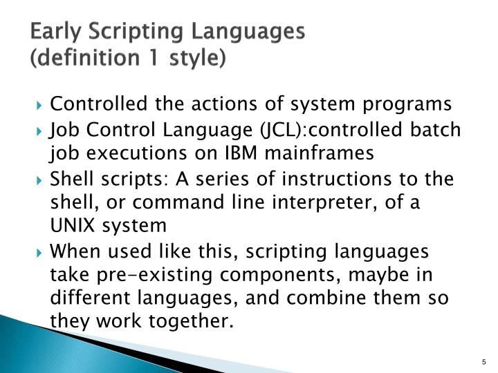 Early Scripting Languages