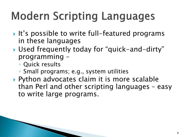 Modern Scripting Languages