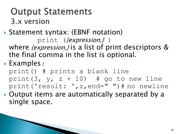 Output Statements