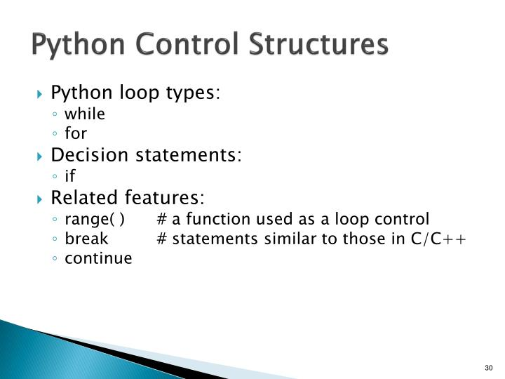 Python Control Structures