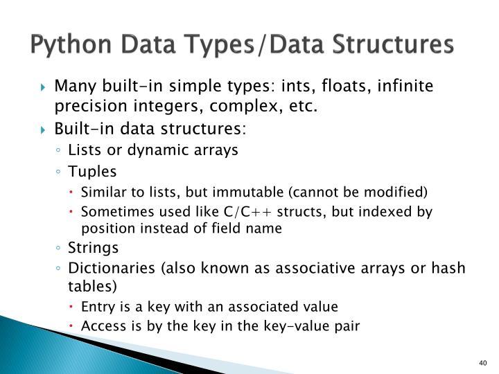 Python Data Types/Data Structures