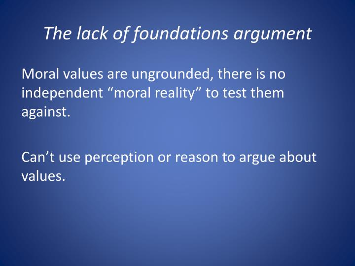 The lack of foundations argument