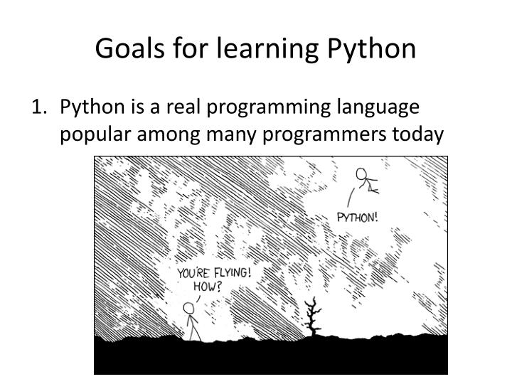 Goals for learning python