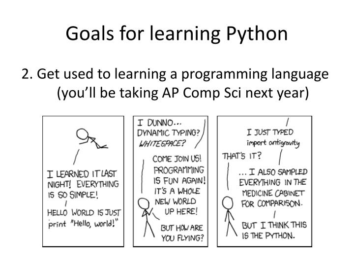 Goals for learning python1