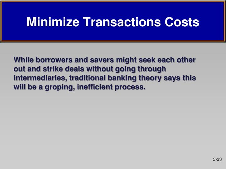 Minimize transactions costs1
