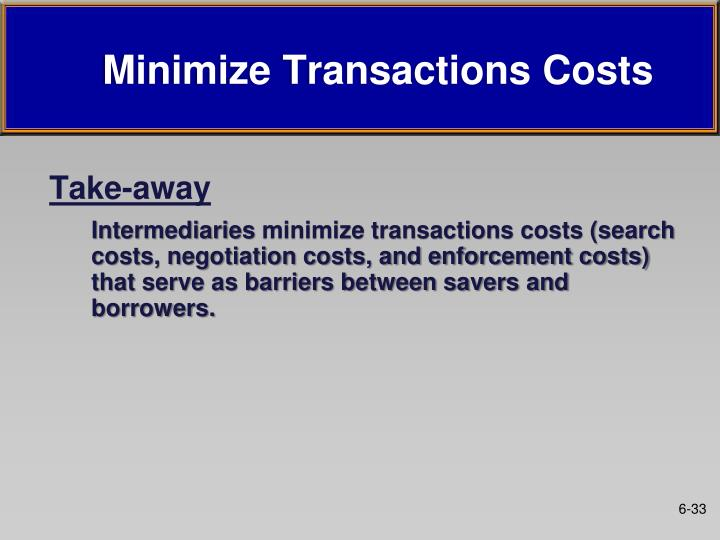 Minimize Transactions Costs