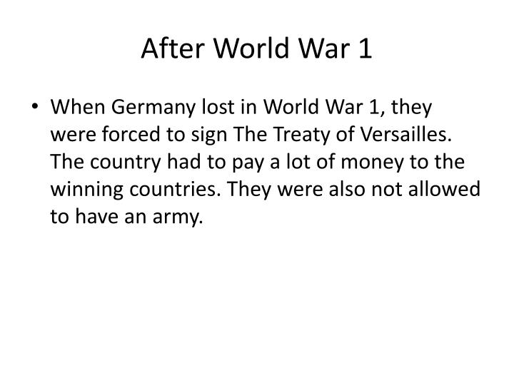 After world war 1