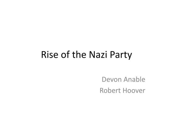 Rise of the nazi party