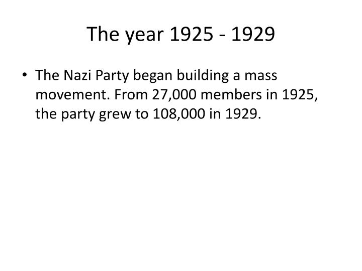 The year 1925 - 1929